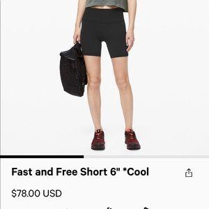 "Lululemon fast and free bike short 6"""